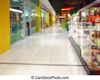 Blurred image of the hall in a large shopping mall
