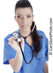 Blurred image of the nurse holding stethoscope