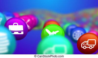 Blurred Images of Social News Balls - An original 3d...