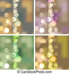 set of abstract backgrounds with blurred lights, vector illustration