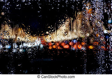 Blurred lights for wet window