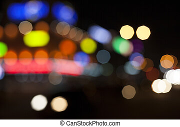 Blurred lights. Night in the city.