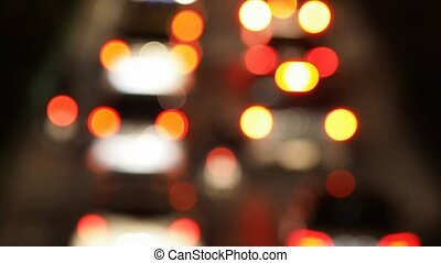 Blurred Lights of Traffic Jam