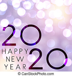 Blurred lilac Happy New Year 2020 poster with shiny bokeh backdrop. Vector background.