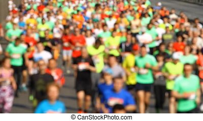 Blurred mass of marathon