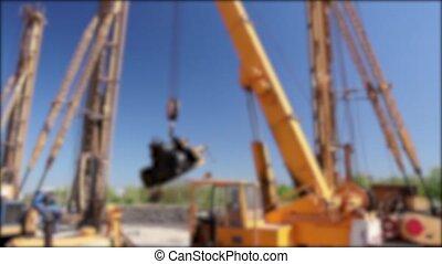 Blurred mobile crane
