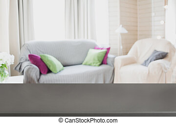 Blurred modern living room interior with chair, soft divan. Abstract background for design.