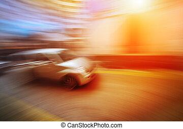 Blurred motion car