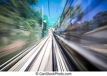 blurred motion shoot out of a moving train