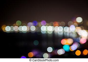 Blurred of bokeh city at night