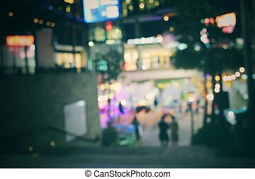 Blurred of shopping mall at night