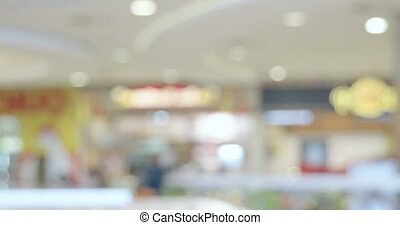 Blurred people in food court of hypermarket time lapse...