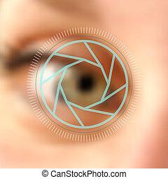 Blurred photo eye camera lens concept