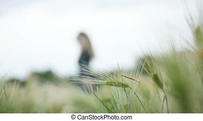 Blurred Portrait of a happy attractive Caucasian blond girl...
