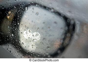 Blurred rain drop on the car glass background