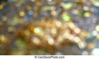 Blurred reflection of gold plant blink and move background