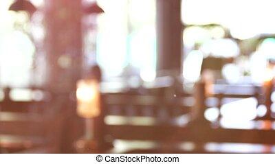 Blurred restaurant interior indoor. - Blurred restaurant...