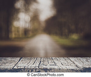 Blurred Road in a Forest with Vintage Filter