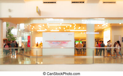Blurred shopping mall background. People walking and shopping on holiday