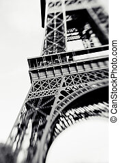 Blurred shot of the Eiffel Tower in Paris, France, selective...