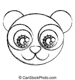 blurred silhouette caricature face panda bear with big eyes