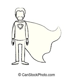 blurred silhouette caricature faceless full body super dad hero with beard
