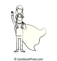 blurred silhouette caricature faceless full body super dad hero with girl on his back