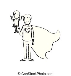 blurred silhouette caricature faceless full body super dad hero with girl on his hand