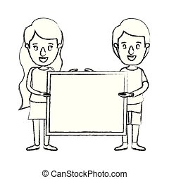blurred silhouette caricature full body couple holding a square poster
