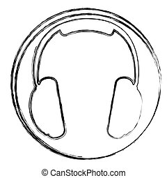 blurred silhouette circular frame with music headphones icon