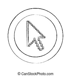 blurred silhouette circular frame with pixelated cursor arrow