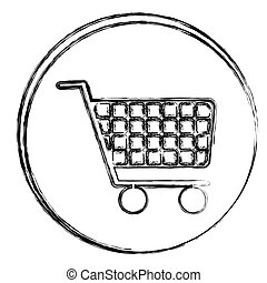 blurred silhouette circular frame with shopping cart icon