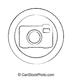 blurred silhouette circular frame with tech camera