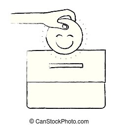 blurred silhouette front view hand with flat happy face depositing in a carton box