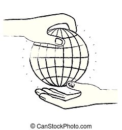 blurred silhouette side view of palm human holding a globe chart to deposit in other hand