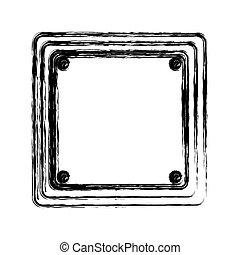 blurred silhouette square shape traffic sign icon