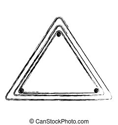 blurred silhouette triangle warning traffic sign