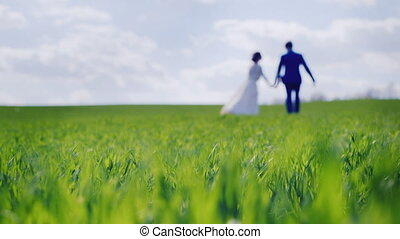 Blurred silhouettes of the newlyweds go away on green grass
