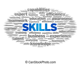 Skills - Blurred Skills word illustration on white...