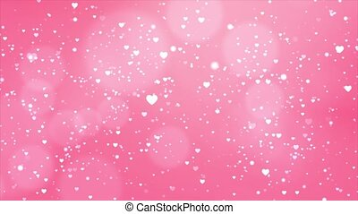 Blurred Smooth Abstract Heart Particles on Glitter Seamless Loop Background.