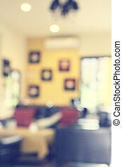 Blurred sofa in coffee shop