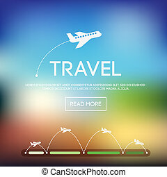 blurred - Abstract vector blurred background with airplane...