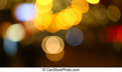 Blurred street lights - Colorful night blurred street lights