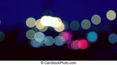 Blurred street lights in the night
