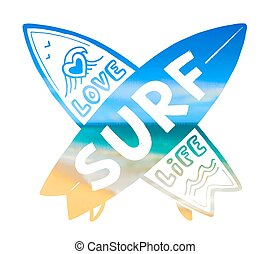 Blurred sunny beach background vector crossing surfing boards silhouettes with hand drawn sign Love SURF Life