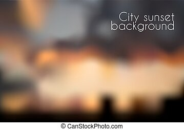 Blurred sunset background. Evening cityscape vector illustration