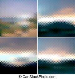 Blurred sunset hexagonal backgrounds set, sunrise wallpaper vector