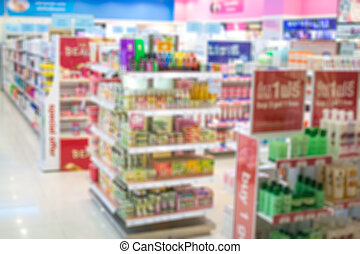 blurred supermarket at shopping mall