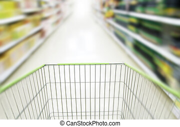 blurred supermarket cart