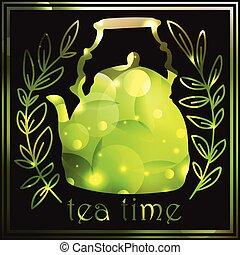 Blurred  Tea vintage background. Hand drawn sketch illustration. Menu design